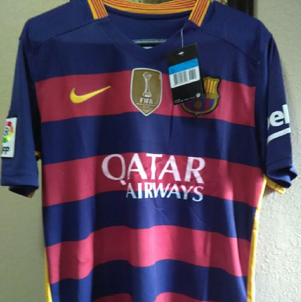 fb0b5aa03 blue and red qatar airways fc barcelona jersey shirt