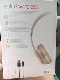 Apple Solo 3 Wireless headphones with lightning to usb cable box.  Brand new still in box-never used.  Cash only.  Will meet at local safe trade station in Mesquite.   Garland, 75043