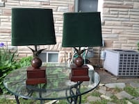 Two brown wooden and brass base green shade table lamps Rockville, 20852