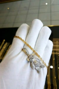"10k yellow gold 24"" chain with diamond teddy bear"