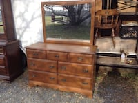 7 Drawer wood dresser with mirror 52 Wide 19 Deep 34 Tall with mirror 65 Tall Smyrna, 19977