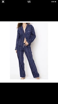 Victoria Secret Flannel Pajama Blue Bellflower, 90706