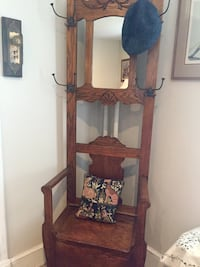 My oak antique coat rack with pull up shelf drawer. Really attractive and very useful. I use it in hallway but also works in bedroom bath  etc Silver Spring, 20901