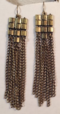 "3 1/2"" Long Vintage Gold Tone Metal Chain Earrings"