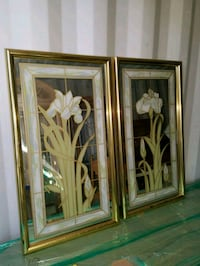 Gold frame mirror with flower pictures Los Alamitos, 90720