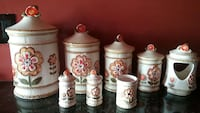 white and red ceramic jar with lid lot