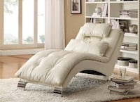 White Leather Like Vinyl Accent Chaise by Coaster - 550078 Missouri City