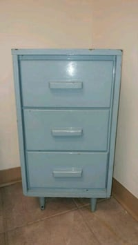 Blue distressed 3-drawer night table dresser Montreal, H8T