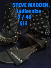 Sweet shoes. Very different. Cow girl sandles with biker looking studs. Made for someone with a thinner foot and ankle. Size 9 Calgary
