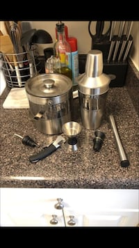 gray jigger, cocktail shaker, ice bucket, and wine opener Bowie, 20716