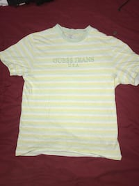 pink, white, and gray Guess Jeans U.S.A striped t-shirt