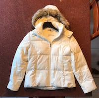 White Guess Down-Filled Jacket with Faux Fur Hood Toronto, M5R 1W8