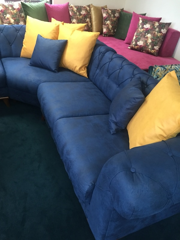 Used blue velvet sectional couch for sale in San Diego - letgo
