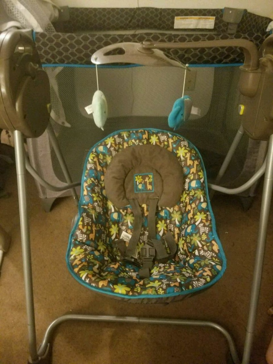 Used, baby's gray and blue portable swing for sale  Sugarcreek