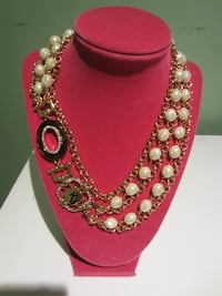 NEW Stylish Gold Faux Multi Stand Pearl Necklace