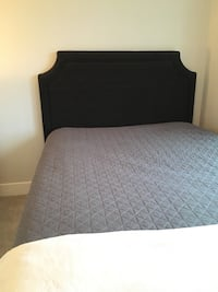 Queen Sized - Grey Fabric Headboard, metal bed frame, box spring