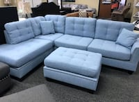 Brand New Blue Linen Sectional Sofa + Ottoman  Silver Spring