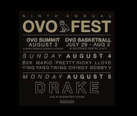 OVO TICKETS AUG 4 Toronto, M1B