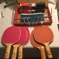 Vintage table tennis equipment paddles net and balls  Jersey City, 07307