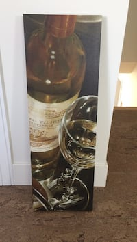 wine bottle and long stem wine glass painting L'Assomption, J5W