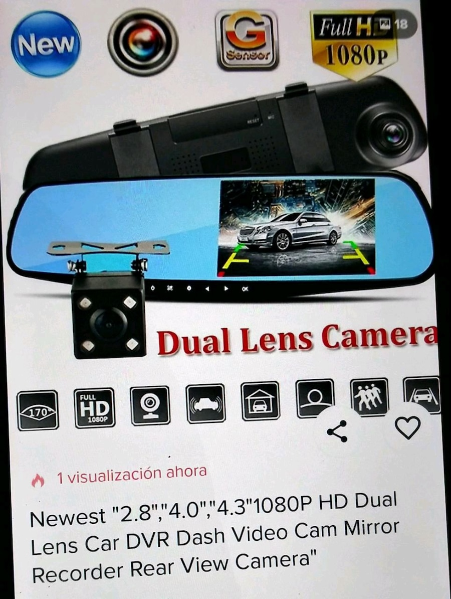 1080P HD LCD Mirror Monitor Dash Cam Dual Lens Car DVR Reverse Rear View Camera