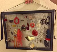 Black wooden picture frame earring display - pick up only
