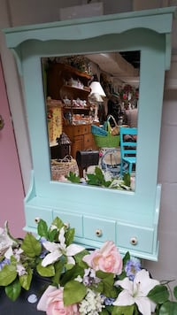 Mint colored wooden cabinet with mirror Mission, 78572