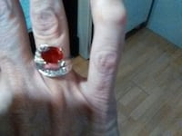 silver-colored ring with red gemstone Prince Frederick, 20678