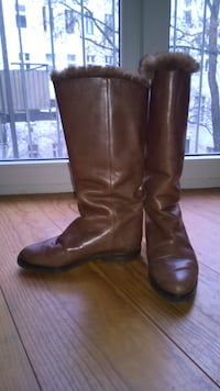Vintage leather boots with real fur - Size 5 (EU 35) Richmond