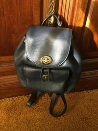 Coach navy leather bucket backpack