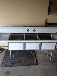 """90"""" 3 Compartment Sink With Drain Boards"""