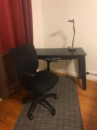 Black desk, chair and Lamp. New York, 10461