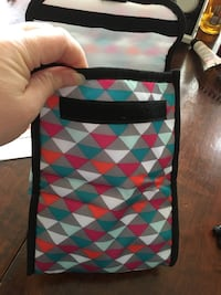 teal, black, white, and red fabric pouch Laurel, 20708