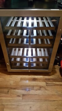 gray and black stainless steel Summit wine cooler