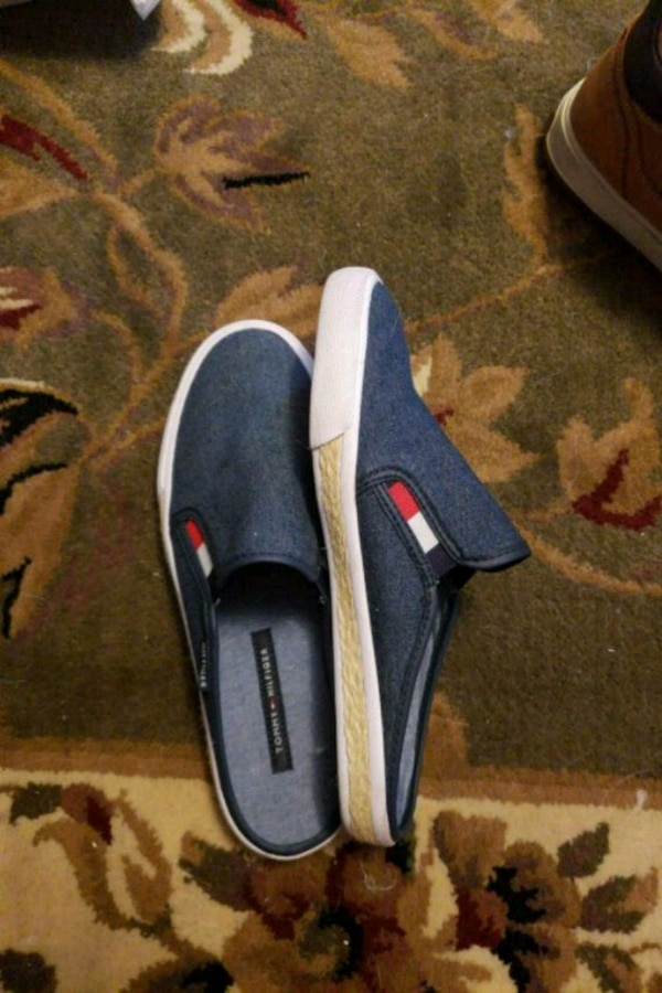 pair of blue-and-white slip on shoes