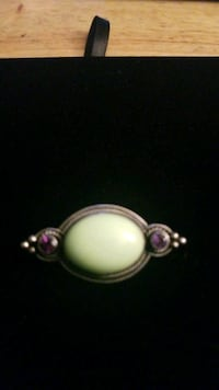 Sterling silver pendant with amethyst stone and green stone