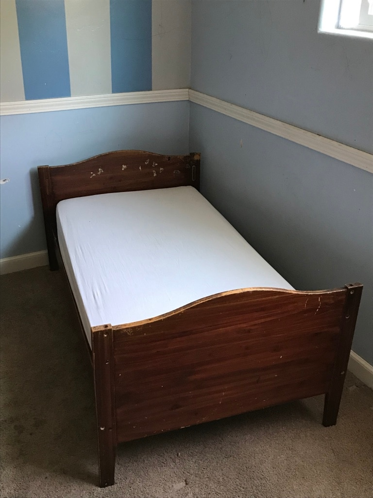 Brown Wooden Toddler Bed Frame With White Mattress