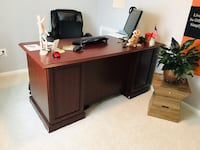 Brown 6 months used hardwood desk 66x29.5 inches Fairfax, 22031