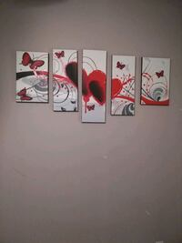 Five panel painting of red petaled flower Gonzales, 70737