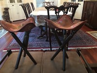 Vintage Indian Wood & Leather Tripod Stools Vienna