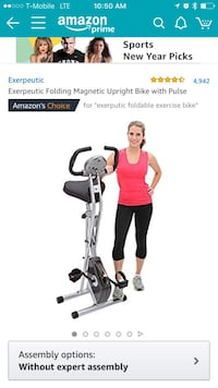 black and gray Exerpeutic folding magnetic upright bike with pulse screenshot