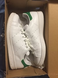 white and green Adidas Stan Smith sneakers with box