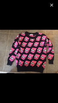 black and pink Simpson-themed crew-neck sweater