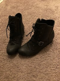 Dark Grey wedge boots are size 7.5, worn once. Ames, 50010