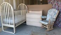 Little Folks brand crib with mattress, glider and dresser that converts from change table into book shelf Essa, L0M