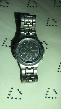 round black chronograph watch with link bracelet Vienna, 22181