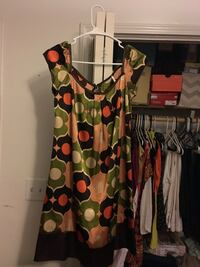 women's green,orange and black printed blouse