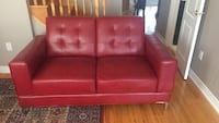 red leather 2-seat sofa