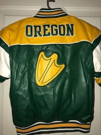 NEW without TAGS Oregon Ducks green yellow white leather like jacket youth boys girls 6/7 Independence, 97351