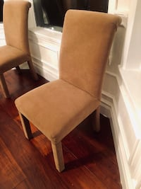 Arhaus custom dining room chairs. Chenille Golden brown in color . Like new 8 total chairs  173 mi